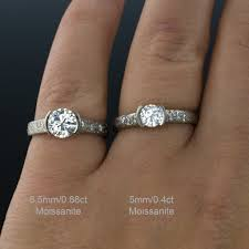 5mm diamond moissanite half bezel diamond dust engagement ring