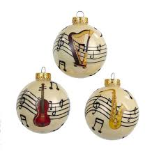 Musical Note Ornaments 80mm Note With Instrument Glass Ornaments 3 Assorted