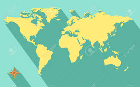 World Map Vector Illustration Of World Map Diagram In Flat Color Royalty Free