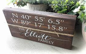 Personalized Home Decor Signs Amazon Com Latitude Longitude Gps Coordinates Sign Home Decor