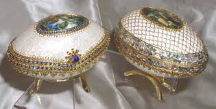 decorated goose eggs the muses a pair of goose eggs designed like a faberge egg