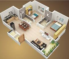 pretty simple house plan with 2 bedrooms and garage 3d and also 2