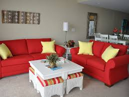 Red Sofa In Living Room by Living Room Natural Red With Yellow Pillow Sofa And Loveseat For