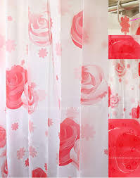 fancy shower curtain and funky red color bathroom