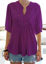 lavender blouses half sleeve split neck purple blouse rosewe com usd 28 66