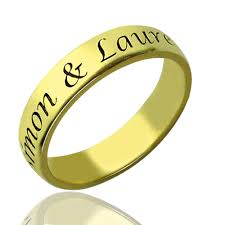 ring with name engraved valentines day gifts for him promise name ring 18k gold plated