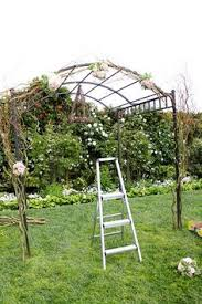 Wedding Arch Ladder Pearls Pink Spray Roses Curly Willow Romantic Wedding Arch