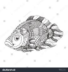 handdrawn fantasy fish ethnic doodle pattern stock vector