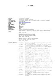 Sample Resume For Mechanical Technician by My Cv