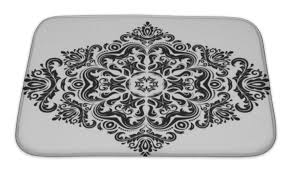 Damask Bath Rug Black And White Damask Bath Towels