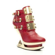red heel less ankle boot with rock star style gothic