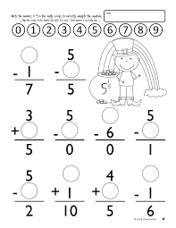 math facts st patrick u0027s day easter addition and subtraction