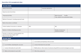 sample forms and templates excursion risk management plan