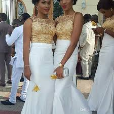 evening wedding bridesmaid dresses aso ebe style gold lace applique top white mermaid evening dress