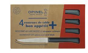 couteau de cuisine opinel coffret de 4 couteaux de table bon appetit anthracite opinel com