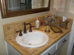 travertine tile counter top with porcelin sink master bathroom