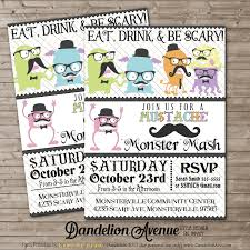 scary halloween party invitations halloween hipster monster mustache party invitation dandelion avenue