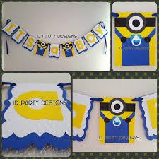 minions baby shower baby shower banner or birthday banner minions centerpiece banner