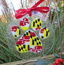 maryland flag paw ornaments fused glass pet ornaments