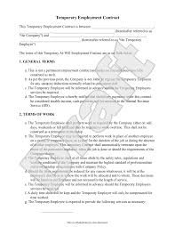 sample temporary employment contract form template projects to