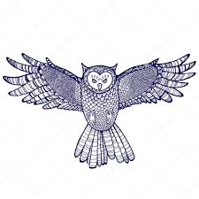flying hand drawn owl tattoo sketch u2014 stock vector mehendra
