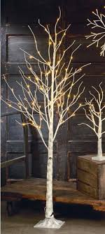display tree small lighted white birch ornament trees