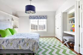 Blue And Green Bedroom Nautical Boys Room With Built In Side By Side Desks Placed Under