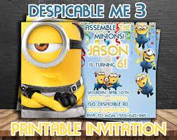 despicable me invite etsy
