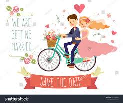 Weeding Invitation Card Wedding Invitation Card Couple On Bike Stock Vector 284136869