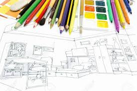 designers desk with drawing tools and a living room sketch stock