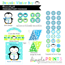 wrap party invitations penguin blue green deluxe printable party dimple prints shop