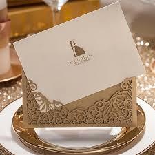 Wedding Invitations Under 1 H U0026d 50pcs Modern Elegant Metallic Brown Laser Cut Wedding