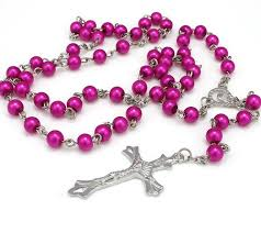 pink rosary buy pink rosary glass cross in silver cross necklace