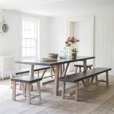 Bench Style Dining Tables Minimalist Chilson Cement Fibre Dining Table And Bench Seat Set