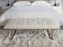 bedroom exciting white tufted bedroom bench with white fur rug
