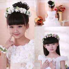 white flower headband new children girl flower headband bracelet lovely floral