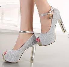 wedding shoes pumps glitter lavender platform peep toe ankle strappy pumps women