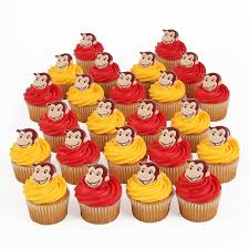 curious george 24 cupcake topper rings kitchen dining