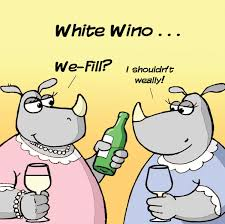 twizler funny card with white wine and rhinoceros blank card