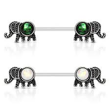 nipple rings pictures images Pair opal glitter elephant nipple rings shield barbells 14g 14 jpg