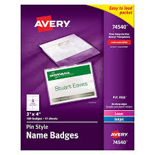 avery pin style name badges 3 x 4 inches for laser and inkjet