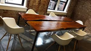 Oak Meeting Table Steel Oak Slab Conference Table Sd Metalworks