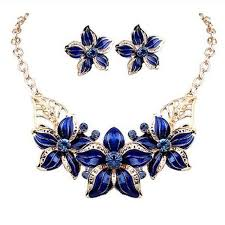 beautiful earring necklace set images New jewelry set necklace earrings woman lady party oil drop flower jpg