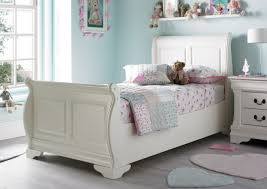White Sleigh Bed Louie Sleigh Bed Polar White Painted Wood Wooden Beds