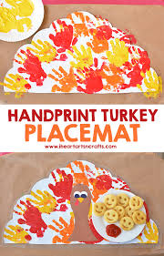 handprint turkey placemat craft for kids i heart arts n crafts
