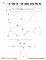 isosceles triangles worksheet education com