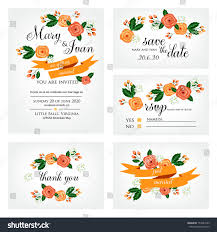 What Is Rsvp On Invitation Card Wedding Invitation Thank You Card Save Stock Vector 154527593