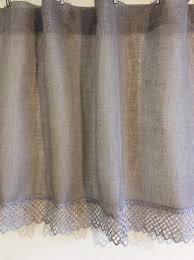 Gray Cafe Curtains Burlap Curtains Gray Curtains Panels Linen Curtains Panels Cafe