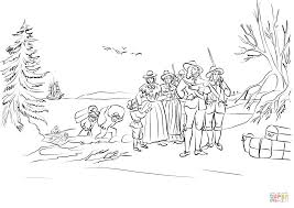 pilgrims coming ashore at plymouth massachusetts coloring page