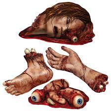 bloody halloween decoration of body parts